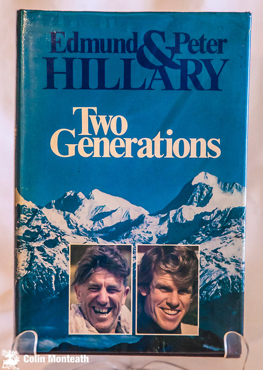 TWO GENERATIONS, Peter & Ed Hillary, signed by Ed Hillary to title page, Hodder & Stoughton, London, 1984 1st edn., 223 page VG+ hardback, VG jacket, colour plates - autobiography of father & son - $NZ175