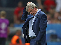 File photo dated 27-06-2016 of England manager Roy Hodgson looking dejected during the Round of 16 match against Iceland at Stade de Nice, France. Issue date: Tuesday June 1, 2021.