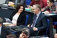 13 FEB 2020, BERLIN/GERMANY:<br /> Amira Mohamed Ali (L), MdB, Die Linke, Fraktionsvorsitzende, und Dietmar Bartsch (R), MdB, Die Linke Fraktionsvorsitzender, im Gespraech, Sitzung des Deutsche Bundestages, Plenum, Reichstagsgebaeude<br /> IMAGE: 20200213-01-016<br /> KEYWORDS: Gespräch