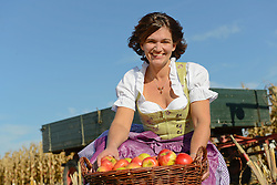 Mature woman with basket full of apples in field, smiling, Bavaria, Germany