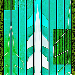 Missile Command Rocket Silo Retro Mid Century Science Illustration in green with bark texture overlays