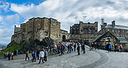 Cobbled road to the summit of Castle Rock inside Edinburgh Castle. Edinburgh is the capital city of Scotland, in Lothian on the Firth of Forth's southern shore, Scotland, United Kingdom, Europe. This image was stitched from several overlapping photos.