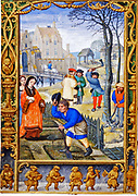 Early 16th century life. March: Gardening. Noblewoman in a fur-trimmed robe and carrying pet dog, speaks with a gardener who raises his hat to her. Woodcutters fell a tree.  Horseman crosses the drawbridge of a moated castle in background. Miniature.