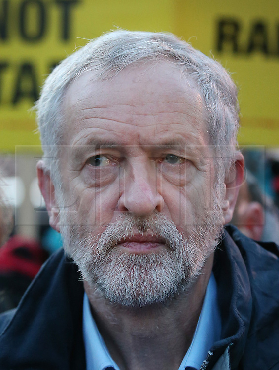 © Licensed to London News Pictures. 04/01/2016. London, UK. Labour leader Jeremy Corbyn joins demonstrators at King's Cross station calling for lower rail fares. Photo credit: Peter Macdiarmid/LNP