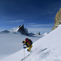 ANTARCTICA, Conrad Anker skis Mount Kubus in Filchner Mountains, Queen Maud Land.
