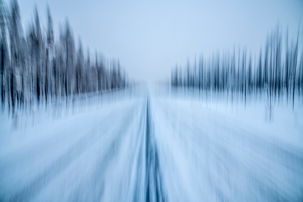 Highway 21 Cold Blue Blur.<br /> Licensing - Open Edition Prints