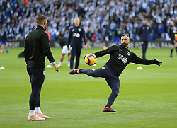 Burnley's Steven Defour warms up prior to the match