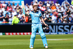 Jonny Bairstow of England lifts his bat as he walks off the field after getting out for 106 - Mandatory by-line: Robbie Stephenson/JMP - 03/07/2019 - CRICKET - Emirates Riverside - Chester-le-Street, England - England v New Zealand - ICC Cricket World Cup 2019 - Group Stage