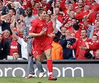 Photo: Daniel Hambury.<br />Liverpool v West Ham United. The FA Cup Final. 13/05/2006.<br />Liverpool's Steven Gerrard celebrates making it 2-2.