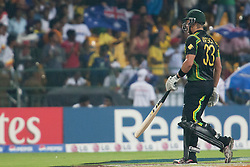 © Licensed to London News Pictures. 28/09/2012. Australian batsmen Shane Watson walks off after getting out for 72 runs  during the T20 Cricket World cup match between Australia Vs India at the R.Premadasa Cricket Stadium,Colombo. Photo credit : Asanka Brendon Ratnayake/LNP