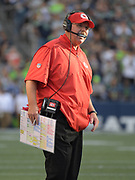 Aug 25, 2017; Seattle, WA, USA; Kansas City Chiefs coach Andy Reid reacts during a NFL football game against the Seattle Seahawks at CenturyLink Field. The Seahawks defeated the Chiefs 26-13.
