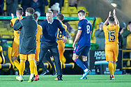 Livingston manager Gary Holt congratulates his players after the final whistle of the Ladbrokes Scottish Premiership match between Livingston FC and Heart of Midlothian FC at the Tony Macaroni Arena, Livingston, Scotland on 14 December 2018.