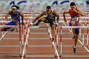 Orlando Ortega (Spain), winner of the Men's 110m Hurdles,  Freddie Crittenden (USA) and Wenjun Xie (China), during the IAAF Diamond League event at the King Baudouin Stadium, Brussels, Belgium on 6 September 2019.