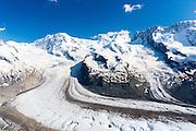 Gornergrat mountain range and Gorner glacier, Gornergletscher, above Zermatt in the Swiss Alps, Switzerland
