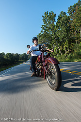 Dave Holzerland riding his 1935 Indian Four during Stage 4 of the Motorcycle Cannonball Cross-Country Endurance Run, which on this day ran from Chatanooga to Clarksville, TN., USA. Monday, September 8, 2014.  Photography ©2014 Michael Lichter.
