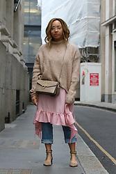 Youtuber Samantha Maria arrives at the Julien Macdonald Autumn / Winter 2017 London Fashion Week show at Goldsmiths Hall, London on Saturday February 18, 2017