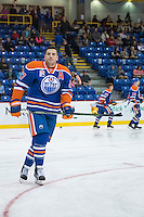 KELOWNA, CANADA - OCTOBER 2: Milan Lucic #27 of the Edmonton Oilers warms up against Los Angeles Kings on October 2, 2016 at Kal Tire Place in Vernon, British Columbia, Canada.  (Photo by Marissa Baecker/Shoot the Breeze)  *** Local Caption *** Milan Lucic;