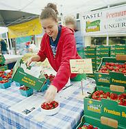 Hood strawberries for sale at the Portland Farmers' Market in Portland, Oregon