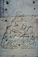 low relief carving prasat bayon temple Angkor Thom Cambodia