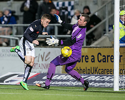 Falkirk's John Baird heads past Alloa Athletic's keeper Andrew McNeil . <br /> Falkirk 5 v 0 Alloa Athletic, Scottish Championship game played at The Falkirk Stadium.