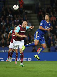 Leonardo Ulloa of Leicester City (R) heads at goal  - Mandatory byline: Jack Phillips/JMP - 07966386802 - 22/09/2015 - SPORT - FOOTBALL - Leicester - King Power Stadium - Leicester City v West Ham United - Capital One Cup Round 3