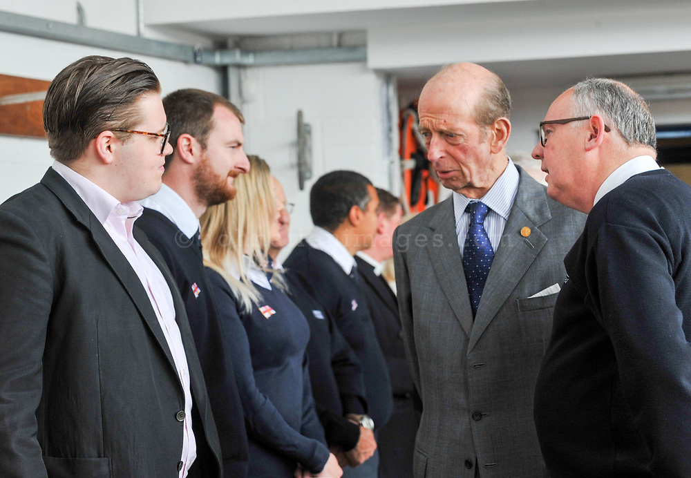 """REPRO FREE<br /> His Royal Highness the Duke of Kent and John O'Gorman, Lifeboat Operations Manager Kinsale RNLI talking to Cristopher Hopcroft, who was rescued from the tall ship Astrid by Kinsale RNLI, during a visit to Kinsale RNLI Lifeboat Station on Wednesday.<br /> Picture. John Allen<br /> <br /> Volunteer crew members of Kinsale RNLI  gave a warm welcome the His Royal Highness the Duke of Kent who made his first visit to the busy West Cork lifeboat station today (Wednesday 31 May).  The Duke has been Patron and President  of the RNLI,  the charity that saves lives at sea, since 1969.   He spent almost an hour meeting volunteers and hearing details of successful rescues by the Kinsale volunteers, including the Sean Anthony in April 2016 when three Portuguese fishermen were saved from a sinking trawler, and the evacuation of 30 people from the sailing vessel Astrid that foundered outside Kinsale Harbour in July 2013.  The Duke was introduced to Christopher Keane Hopcraft, one of the young people rescued from the Astrid, and Mrs Janet Rutherford who received medical attention and was brought to safety after she was injured on board a yacht.  Members of the local community were also invited to meet the Duke, including representatives of Kinsale's fishing fleet, along with RNLI volunteers from West Cork's newest station in Union Hall and representatives of the GAA, partners in the RNLI Respect the Water campaign that aims to halve the number of coastal deaths by 2024.<br /> <br /> The Duke said:<br /> <br /> Kinsale RNLI Lifeboat Operations Manager, John O'Gorman, said:  """"It was a honour and a privilege for us to meet the Duke who has provided unwavering support to the RNLI for almost half a century.  Our station on the Wild Atlantic Way is a long way from the RNLI HQ in Poole so we rarely get the opportunity to meet someone so close to the heart of the charity.  In that time he has visited the vast majority of lifeboat stations and we are delighted he chose to a"""
