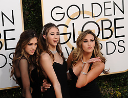 January 8, 2017 - Los Angeles, California, U.S. - SISTINE, SCARLET AND SOPHIA STALLONE arrives for the 74th Annual Golden Globe Awards, at The Beverly Hilton in Beverly Hills. (Credit Image: © Kevin Sullivan via ZUMA Wire)