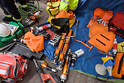 Safety and rescue equipment belonging to the London Fire Brigade's 'extrication' team who gave a demonstration on how firefighters rescue passengers by cutting open with dedicated cutting equipment a stretch limousine in London's Covent Garden Piazza. Highlighting the dangers of hiring illegal luxury or novelty cars, this vehicle was seized last year with many mechanical defects rendering it unsafe for those inside with limited exit doors. Of 358 cars stopped in March 2012, 27 were seized and 232 given prohibitions. This scenario is a simulation and therefore reproduces the reality of an emergency, using real emergency services personnel and equipment. Casualties are volunteers and none were injured in the making of this photograph.