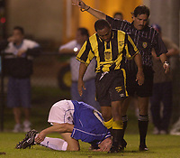 Rangers v Uruguay in Fort lauderdale, Florida during Scottish Premier League  winter shut down. Uruguay are  an American Amateur team<br /><br />Pic Ian Stewart, 18/01/2001.<br />Tore Andre Flo injured. (Photo: Digitalsport)
