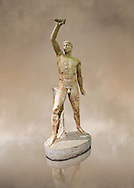 2nd century AD Roman marble sculpture of Aristogeiton  from the Tyrannicide group,  a Roman copy of an early classical period Geek original, inv 6307, Naples Museum of Archaeology, Italy ..<br /> <br /> If you prefer to buy from our ALAMY STOCK LIBRARY page at https://www.alamy.com/portfolio/paul-williams-funkystock/greco-roman-sculptures.html . Type -    Naples    - into LOWER SEARCH WITHIN GALLERY box - Refine search by adding a subject, place, background colour, museum etc.<br /> <br /> Visit our ROMAN WORLD PHOTO COLLECTIONS for more photos to download or buy as wall art prints https://funkystock.photoshelter.com/gallery-collection/The-Romans-Art-Artefacts-Antiquities-Historic-Sites-Pictures-Images/C0000r2uLJJo9_s0