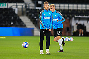 Kamil Jozwiak of Derby County (7)  in the warm up during the EFL Sky Bet Championship match between Derby County and Cardiff City at the Pride Park, Derby, England on 28 October 2020.