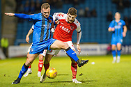 Gillingham FC midfielder Dean Parrett (8) and Fleetwood Town forward Ched Evans (9) during the EFL Sky Bet League 1 match between Gillingham and Fleetwood Town at the MEMS Priestfield Stadium, Gillingham, England on 3 November 2018.<br /> Photo Martin Cole