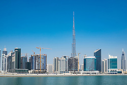 View of Burj Khalifa and Creek at new Business Bay district of  Dubai United Arab Emirates