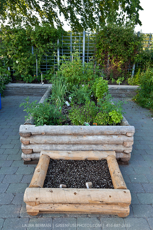 """Container garden of """"log-cabin"""" style raised planters."""
