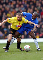 Paul Devlin (Watford) Geremi (Chelsea) Watford v Chelsea, Vicarage Road, 03/01/2004, F.A. Cup, 3rd Round. Credit : Colorsport / Robin Hume. Digital File Only.