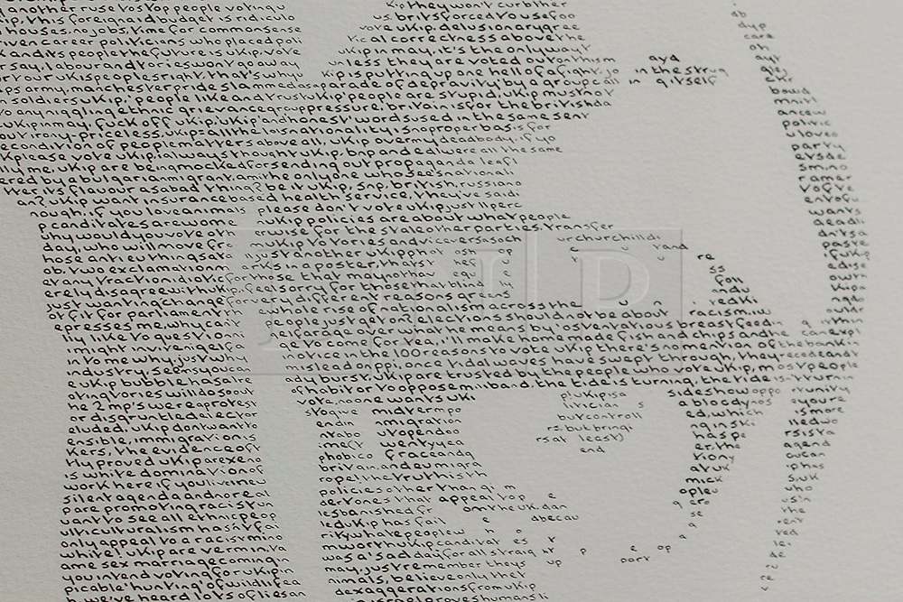 © Licensed to London News Pictures. 17/04/2015. LONDON, UK.  Birmingham based artist Annemarie Wright's exhibition of portraits of five party leaders made from handwritten text of opinions expressed on social media is seen at Woolff Gallery in London on Friday, 17 April 2015. Photo credit : Tolga Akmen/LNP