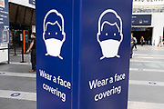 As numbers of Covid-19 cases in Birmingham have increased dramatically in recent weeks, and with the expectation that the city will be added to the watch list of critical areas which may face a local lockdown, far fewer people continue to use Grand Central station for travel where advice on wearing a face mask is clear on 18th August 2020 in London, United Kingdom. With other areas in the Midlands under localised lockdown, people and businesses are being urged to follow the Coronavirus advice for workplace and family life help reduce the risk.