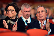 © Licensed to London News Pictures. 10/10/2012. Birmingham, UK Mayor of New York, Michael Bloomberg, sits in the audience at The Conservative Party Conference at the ICC today 10th October 2012. Photo credit : Stephen Simpson/LNP