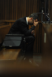 BY COURT ORDER, THIS IMAGE IS FREE TO USE.<br /> 61178306<br /> The accused Oscar Pistorius in the Pretoria High Court on March 6, 2014, in Pretoria, South Africa. Pistorius stands accused of the murder of his girlfriend, Reeva Steenkamp, on February 14, 2014. This is Pistorius official trial, the result of which will determine the paralympian athlete s fate,Thursday, 6th March 2014. Picture by  imago / i-Images<br /> UK ONLY