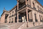 The State Government Palace and Museum or Palacio de Gobierno del Estado de Nuevo Leon in the Macroplaza Grand Plaza alongside the Barrio Antiguo neighborhood of Monterrey, Nuevo Leon, Mexico.