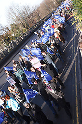 NASUWT members with banners at demonstration against pension cuts, Nottingham 30th November 2011