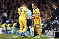 (l-r) Mattia De Sciglio of Juventus FC, Stephan Lichtsteiner of Juventus FC during the UEFA Champions League quarter final match between Real Madrid and Juventus FC at the Santiago Bernabeu stadium on April 11, 2018 in Madrid, Spain