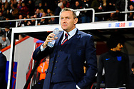 England U21's head coach Aidy Boothroyd with a water bottle during the U21 International match between England and Germany at the Vitality Stadium, Bournemouth, England on 26 March 2019.