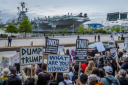 May 4, 2017 - New York, United States - Thousands of New Yorkers took to the streets, gathering outside the Intrepid Sea, Air & Space Museum on May 4th,2017; to protest Donald J. Trump's first visit to New York City since becoming president, and to show how unpopular and unwelcome he is in his hometown, and to condemn Trump and his regime of hatred and discrimination. (Credit Image: © Erik Mcgregor/Pacific Press via ZUMA Wire)