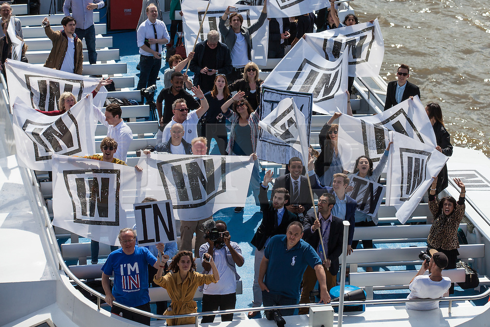 © Licensed to London News Pictures. 15/06/2016. London, UK. An 'IN' campaign boat, with Bob Geldoff and Rachel Johnson, Boris Johnson's sister, on board, meets a flotilla of fishing trawlers led by Nigel Farage as they sail up the River Thames to Westminster. The flotilla is organised by the 'Fishing for Leave' campaign, founded by Scottish fisherman, which argues that the UK's fishing industry would be better off outside the EU, but with the same status as Iceland or Norway when fishing quotas are negotiated. Photo credit: Rob Pinney/LNP