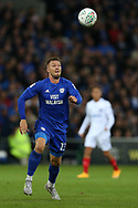 Anthony Pilkington of Cardiff city in action. Carabao Cup, 1st round match, Cardiff city v Portsmouth at the Cardiff city Stadium in Cardiff, South Wales on Tuesday August 8th 2017.<br /> pic by Andrew Orchard, Andrew Orchard sports photography.