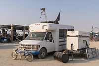 Bus Conversion with Telescope. One of the great things about Burners is that so many of them are way smarter than me. I would never have thought to bring a telescope to mount on the roof of my rig but this person did! See the stars and all of the playa from your own spot. Genius. - https://Duncan.co/Burning-Man-2021