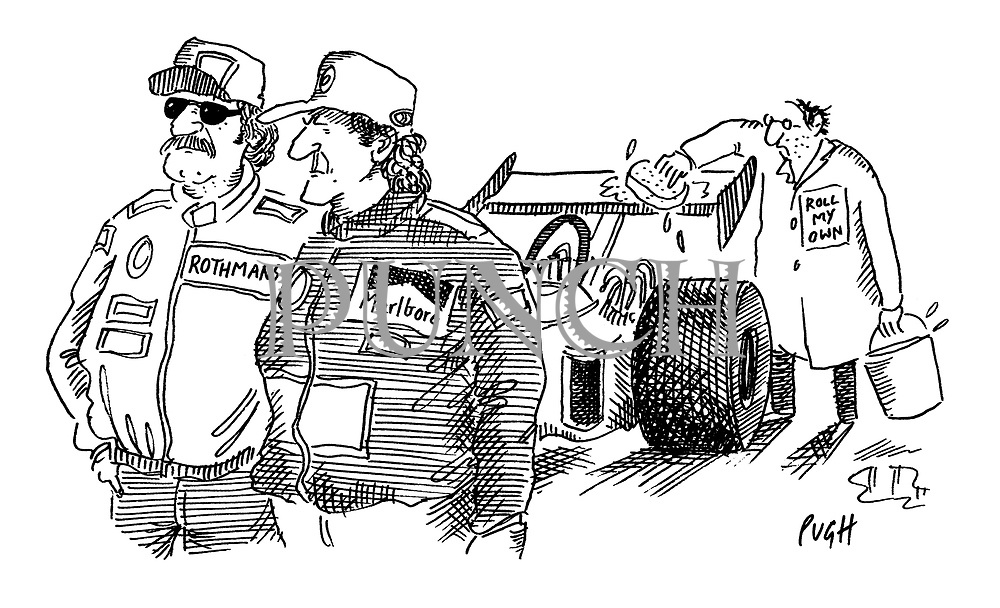 (A motor sport scene. Two men are wearing bomber jackets with tobacco company sponsors' names on them, while a third, who is washing down one of the cars wears a label reading 'Roll my own')