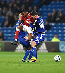 Jonathan Kodjia of Bristol City battles for the ball with Sean Morrison of Cardiff City and Matthew Connolly of Cardiff City  - Mandatory byline: Joe Meredith/JMP - 07966 386802 - 26/10/2015 - FOOTBALL - Cardiff City Stadium - Cardiff, Wales - Cardiff City v Bristol City - Sky Bet Championship