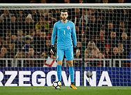 Angus Gunn of England during the U21 UEFA EURO first qualifying round match between England and Scotland at the Riverside Stadium, Middlesbrough, England on 6 October 2017. Photo by Paul Thompson.